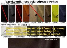 Nabytekmorava Rozkladacia sedacia súprava Fokus farba eko kože: eko biela 120, farba vankúšov: Mega P0001, farba sedáku: Savana hnedá 25
