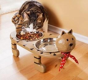 Weltbild Dřevěný stojan na misky Kočka