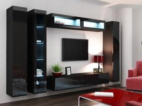 CAMA MEBLE Obývacia stena VIGO 6 Farba: čierna
