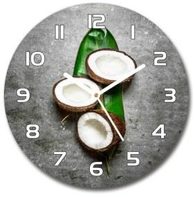 Sklenené hodiny okrúhle Polovičky kokosov pl_zso_30_f_120962660