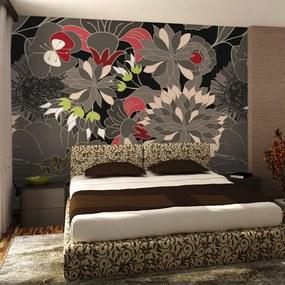 Fototapeta Bimago - kvetinový motiv - šedý + lepidlo zadarmo 400x309 cm