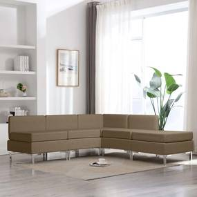 vidaXL 5-dielna sedacia súprava hnedá látková