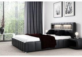 Manželská posteľ Fekri120x200, černá eko koža