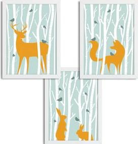 Séria 3 rámovaných obrazov pre deti - V lese - zelená - A3