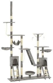 vidaXL Škrabadlo pre mačky so sisalovými stĺpikmi 230-250 cm sivé