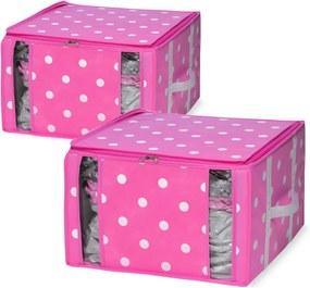 Sada 2 ružových úložných boxov s vakuovým obalom Compactor Girly Range, 40 x 42 cm