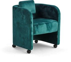 Kreslo Comfy, s kolieskami, zamatová tkanina, smaragdová
