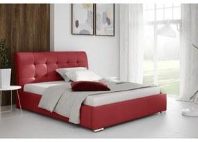 Moderné jednolôžko Evelyn s úložným priestororm červená eko koža 140 x 200
