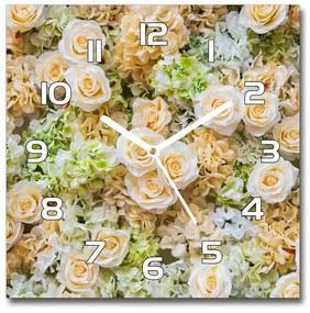Sklenené nástenné hodiny štvorec Ruže pl_zsk_30x30_f_109290145