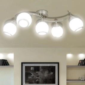 vidaXL Stropná lampa so sklenenými tienidlami na zvlnenej koľajnici