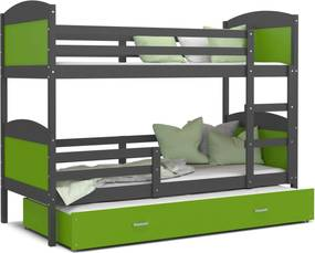 GL Poschodová posteľ Matúš 3 grafit s prístelkou zelená 190x80- výpredaj Farba: Zelená, Rozmer: 190x80
