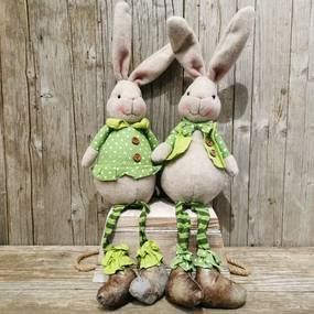 zajačik látkový sediaci zeleno šedý 52cm, cena za 1ks