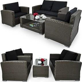 Luxury set 2 + 1 + 1 - šedá