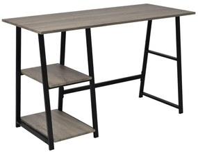 vidaXL Písací stôl s 2 poličkami, šedý a dubový