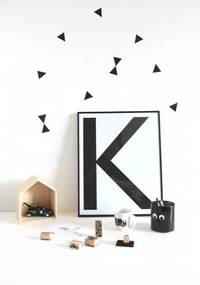 Nálepky na stenu trojuholníky 60ks - Čierna