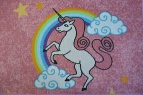 MAXMAX Detský koberec Jednorožec s dúhou - ružový obdĺžnikový polyamid krátky vlas multicolor