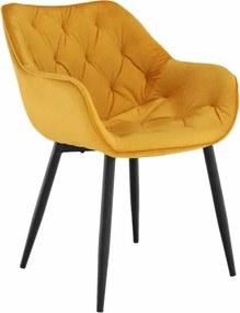 Dizajnové kreslo, žltá Velvet látka, FEDRIS