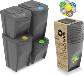 Jurhan Sada 4 odpadkových košov SORTIBOX šedý kameň, objem 2x25l a 2x35 litrov
