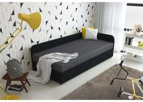 Čalúnená posteľ VALESKA 80x200, čierna + šedá