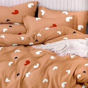 HOD Bavlnené posteľné obliečky HEART-20 cappuccino - 7 dielna súprava 140x200cm