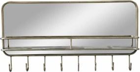 Chic Antique Zrkadlo s poličkou a háčikmi Antique Brass