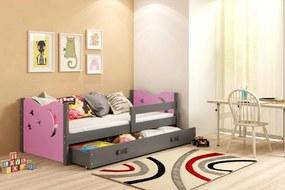 BMS Group Jednolôžková posteľ  MIKULÁŠ - so zásuvkou - GRAFIT