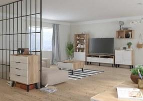 MEBLOCROSS Sven obývacia izba sonoma svetlá / biely lesk