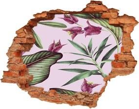 Nálepka 3D diera na stenu Tropické kvety WallHole-cegla-90x70-137343545