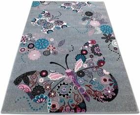 MAXMAX Detský koberec Motýliky - sivý