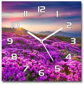 Sklenené hodiny štvorec Kvety v horách pl_zsk_30x30_f_70454274