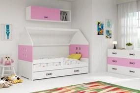Domčeková posteľ DOMI 160x80cm - Biela - Ružová