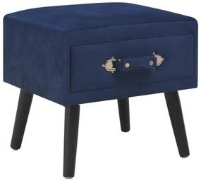 vidaXL Nočný stolík modrý 40x35x40 cm zamatový