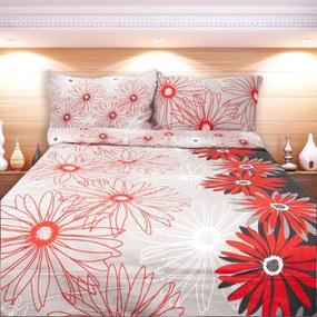 HOD Obliečky MARGARETA červená čierna Bavlna 70x90 140x200 cm