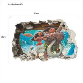 Veselá Stena Samolepka na stenu na stenu Odvážna Vaiana Velikost: 90 x 60 cm