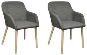 Jedálenské stoličky s dubovým rámom, 2 ks, látkové, tmavošedé