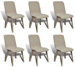 vidaXL Jedálenské stoličky 6 ks, béžové, látka a dubový masív