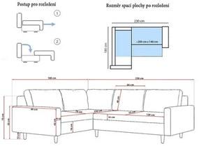 Rohová rozkladacia sedacia súprava ETNA II