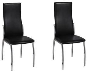60569 vidaXL Dve jedálenské stoličky z chrómu a čiernej kože