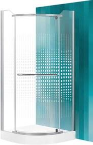 ROLTECHNIK Štvrťkruhový sprchovací kút AUSTIN/900 striebro/potlač N0018