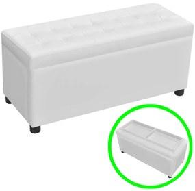 Biela taburetka z umelej kože s gombíkmi úložným priestorom