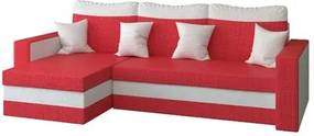 Rohová rozkladacia sedacia súprava MADO Červená/biela