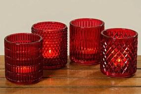 Svietniky Rubia, červené, 4 kusy