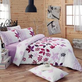 Tip Trade Bavlnené obliečky Nuty Lila, 220 x 200 cm, 2 ks 70 x 90 cm