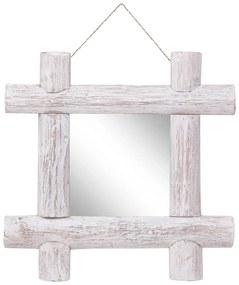 vidaXL Guľatinové zrkadlo biele 50x50 cm masívne recyklované drevo