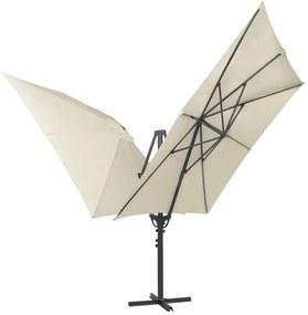 Dvojitý slnečník s 2 strieškami, 300x300 cm, krémový