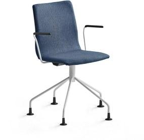Konferenčná stolička Ottawa, štýlová podnož + opierky rúk, modrá/biela