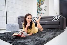 MAXMAX Detský plyšový koberec GRAFIT obdĺžnikový Dlhý vlas (SHAGGY) čierna|šedá