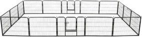 275492 Edco Ohrádka pre psov so 16 panelmi, oceľová 60x80 cm čierna