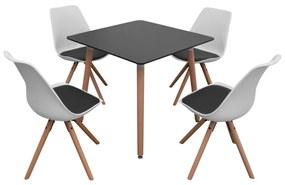 5-dielna jedálenská súprava stola a stoličiek, čierno-biela