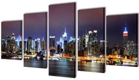 vidaXL Sada obrazov na stenu, motív farebná panoráma New Yorku 100 x 50 cm
